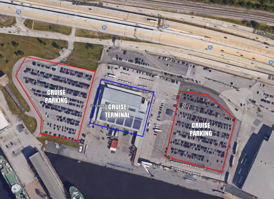 Baltimore cruise parking map