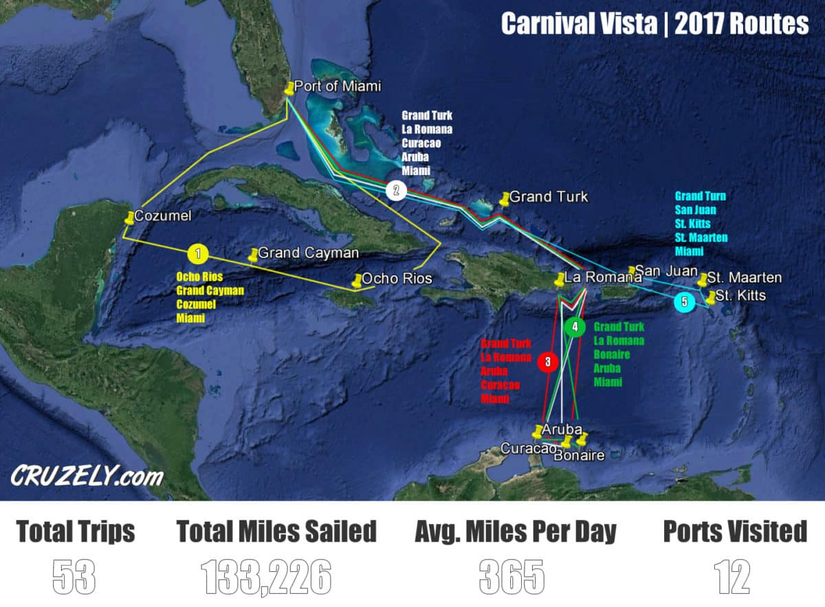 Map showing Carnival Vista's 2017 routes