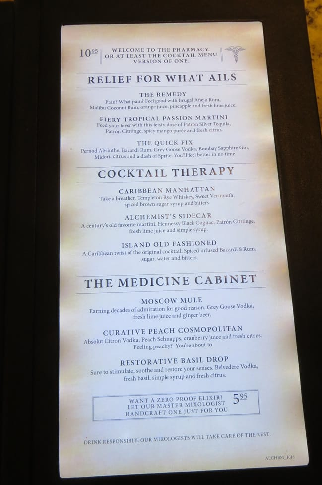 Alchemy bar menu