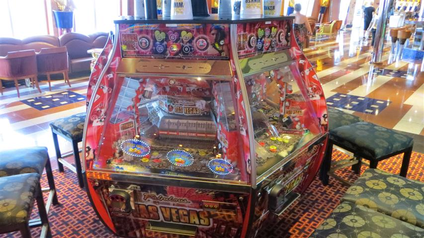 coin pusher machine on a cruise