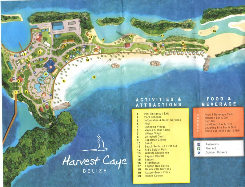 Map of Harvest Caye, Belize