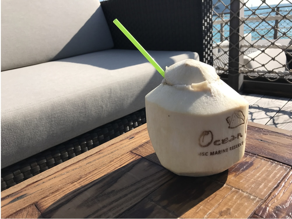 Coconut drink on MSC's Ocean Cay