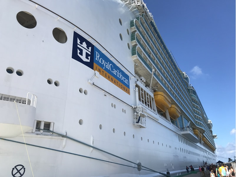 Royal Caribbean ship in port broadside.